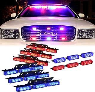 DT MOTO Blue Red 54X LED Police Vehicle Dash Deck Grille Strobe Warning Lights - 1 set