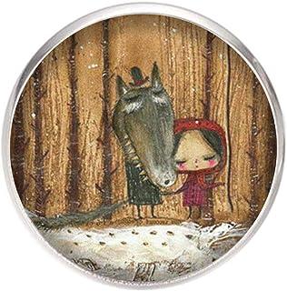 Spilla con perno in acciaio inossidabile, diametro 25 mm, spillo 0,7 mm, Fatto a Mano, Illustrazione Cappuccetto Rosso 3
