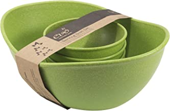 EVO Sustainable Goods Five Piece Serving Bowl Set, Green