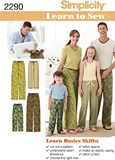Simplicity Learn To Sew Children, Teen, and Adult Pajama Pants Sewing Pattern, Sizes XS-XL