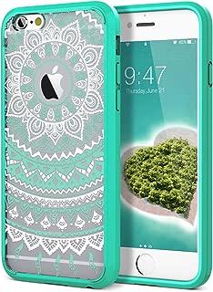 SmartLegend iPhone 6S Plus Case/iPhone 6 Plus Case, Girls Women Slim Anti-Slip Clear Soft TPU Bumper + Hard PC Back Shockproof Full-Body Protective Cover for iPhone 6 Plus/6s Plus- Mint Mandala