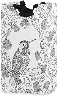 LDIYEU Fleur Oiseau Blanc Grand Panier à Linge Pliage Étanche Rangement Corbeille à Linge avec Poignées pour Maison Buanderie