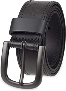 Dickies Mens 1 1/2 in. Leather Belt With Two Row Stitch