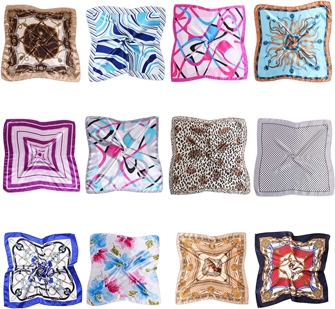NUWEERIR 12pc Womens Small Square Rapid rise Scarf New Orleans Mall Mixed Set Silk Band Hair