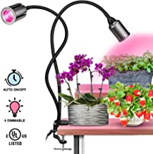 COB LED Plant Grow Lights - 75W Full Spectrum Grow Light for Indoor Plants, Indoor Plants Lights with Auto on/Off, 3/6/12H Timing, 4 Dimmable Function, Plants Grow Lamp, Flexible Gooseneck, Pink