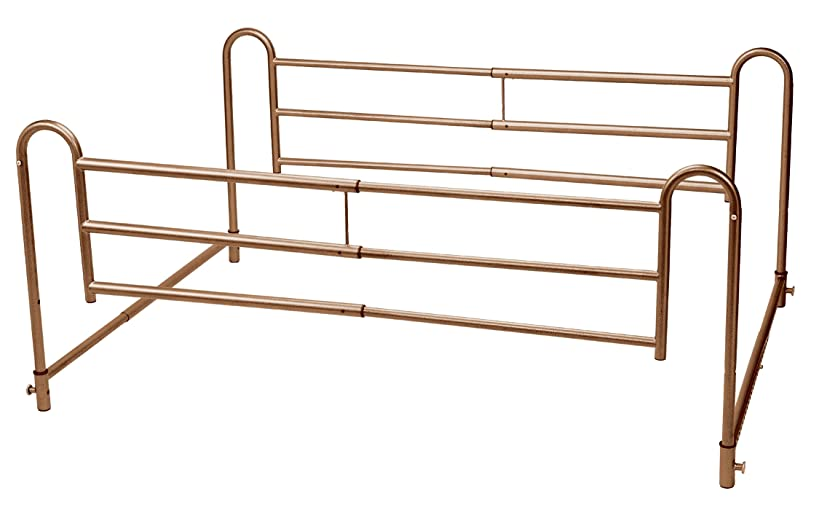 Drive Medical Home Bed Style Adjustable Length Bed Rails, Brown Vein