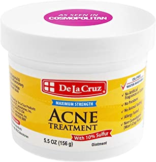De La Cruz 10% Sulfur Ointment Acne Treatment - Medication to Clear Cystic Acne Pimples and Blackheads on F...
