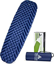 HIKENTURE Camping Pad - 2019 Edition Ultralight Sleeping Pad for Camping, Backpacking, Inflatable, Lightweight, Portable Sleeping Mat - Comfort Plus and Better Support - Blue and Green