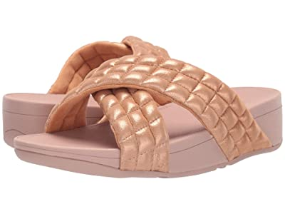 FitFlop Lulu Padded Shimmy Suede Slides (Rose Gold) Women