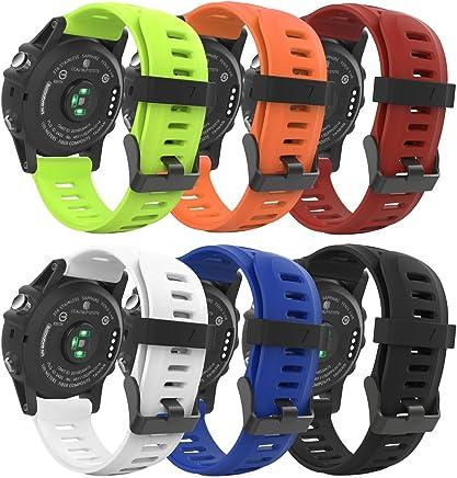 MoKo Pulsera Compatible con Garmin Fenix 3/Fenix 3 HR/Fenix 5X/5X Plus/D2 Delta PX, [6 Pzs] Correa Pulsera de Silicona Respirable y Reemplazable, Banda de Reloj Deportivo con Cierre