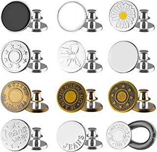 12Sets Button for Sewing Metal Jeans,17mm (0.67 inch) No-Sew Nailess Removable Metal Jean Buttons, Fits to Any The Cowboy ...