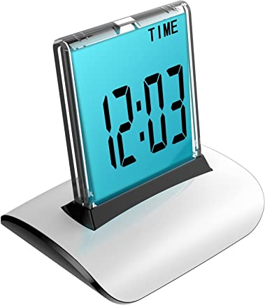 Megadream Calendar Time Clock,Push Panel LCD Color Changing Office Desk Alarm Clock with Date Temperature Count Down Display Bedside Snooze/Relax The Pressure Function