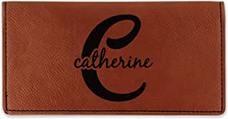 Name & Initial (Girly) Leatherette Checkbook Holder - Single Sided (Personalized)