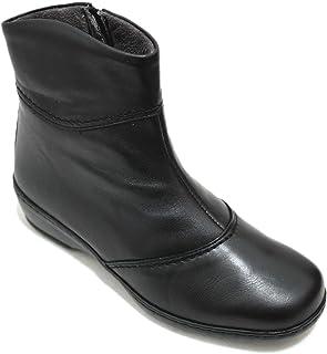 901acb49 Notton 2311 - Botines De Piel Negra Lisa Mujer Cómodos Anchos Plantilla  Extraible con Cremallera
