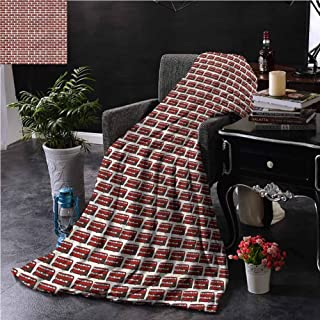 SSKJTC London Orange Throw Blanket Double-Sided Printing Cartoon Double Decker Dorm Bed Baby Cot Traveling Picnic W54 xL72