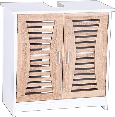eSituro Mueble Bajo Lavabo Armario de Suelo para Baño Mueble de Baño Organizador 2 Puertas, MDF Blanco + Roble Claro 60x30x60 cm SBP0021: Amazon.es: Hogar
