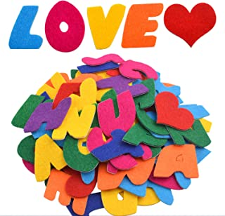 Felt Letter Stickers, 104 pcs Self-Adhesive Letters Felt Alphabet Stickers A-Z with 4pcs Heart Stickers for Kids Decoration Arts and Crafts - Assorted Colors