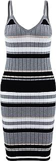 Women's Sleeveless V-Neck Stripe Tight Elastic Dress