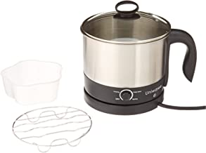 Uniware 70019 1.2 LT S.S304 Electric Cooker W. Rotating Base, 8.7'' x 6.7'' x 7', Silver & black