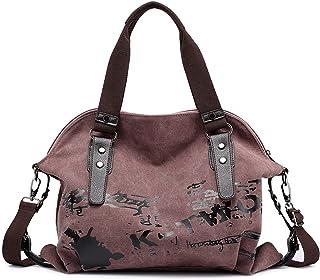 DIRRONA Mode Damen Canvas Handtasche Damen Canvas Schultertasche Canvas Tragetasche Reise Ferien Handtasche Hohe Kapazität...