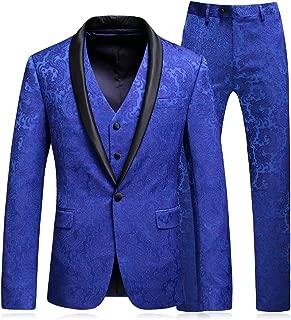 Mens Floral Jacquard Suits Royal Blue Luxury 3 Piece Blazer Jacket & Pants & Vest