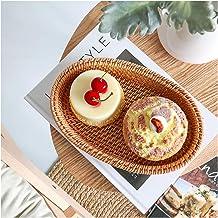 MAHFEI Oval Woven Bread Roll Basket, Hand Woven Storage Basket Multifunctional Rattan Basket Household Fruit Bread Towel D...