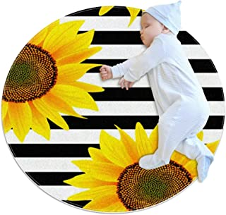Soft Round Area Rug 80x80cm/31.5x31.5IN Anti-Slip Floor Circle Mats Absorbent Memory Sponge Standing Mat,Flower on White a...