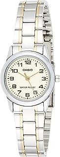 ساعة كاسيو للنساء- مينا بيج وانالوج بعقارب بإسورة من الستانلس ستيل- حركة كوارتز يبانية V001Sg 9B