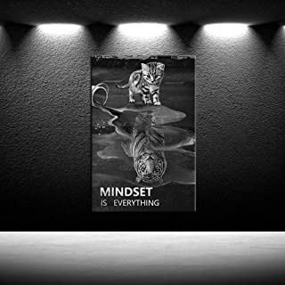 iKNOW FOTO Mindset is Everything Motivational Canvas Wall Art Inspirational Entrepreneur Quotes Poster HD Print Artwork Painting Picture for Living Room Bedroom Office Home Decor Framed Ready to Hang
