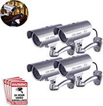 Dummy Security Camera, FITNATE 4 Packs Fake Security Camera CCTV Surveillance System with LED Red Flashing Light for Both Indoor & Outdoor Use + Security Camera Warning Stickers × 4 (Silver)