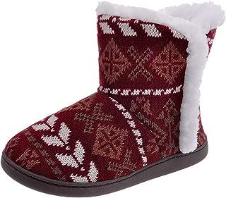 Shoeslocker Womenโ€™s Soft Comfy Bootie Slippers