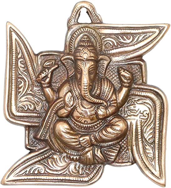 APKAMART Lord Ganesh Wall Hanging Ganpati Seated On Swastik 6 Inch Wall Showpiece For Wall Decor Room Decor Home Decor And Gifts