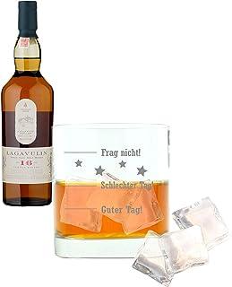 Whiskey 2er Set, Lagavulin 16 Years / Jahre, Single Malt, Whisky, Scotch, Alkohol, Alokoholgetränk, Flasche, 43%, 200 ml, 581364, Geschenk zum Vatertag, mit graviertem Glas