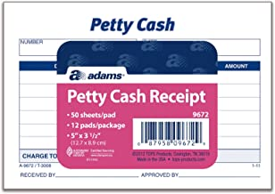 Adams Petty Cash Receipt Pad, 5 x 3-1/2 Inches, 50 Sheets per Pad, Pack of 12 Pads (9672ABF)