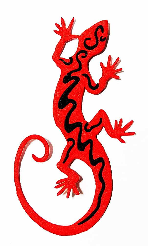 Red Lizard Beautifully in Nature Live by The Forest Floating Art Tattoo Patch Cartoon Kids Symbol DIY Iron on Patch Iron-On Designer Patch Used for Gifts Crafts Jeans Clothing Fabric