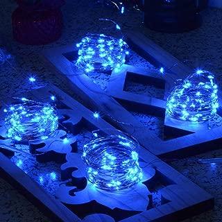 Chasgo 16.4Ft 50 LED Blue Christmas Lights Battery Operated, 4 Packs LED Copper Fairy Lights, Mini Blue Christmas Tree Lights for Christmas, Wedding, Parties, Bedroom, Blue