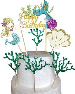 ALISSAR Glitter Mermaid Theme Birthday Cake Topper with Seaweed and Mermaid, Cake Cupcake Toppers for Girls Mermaid Themed Birthday Cake Party Decorations.