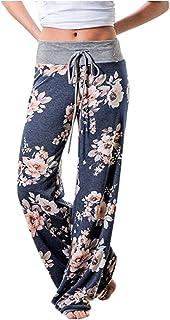 Aifer Women's Comfy Casual Pajama Pants Floral Print Stretchy Drawstring Wide Leg Lounge Pants