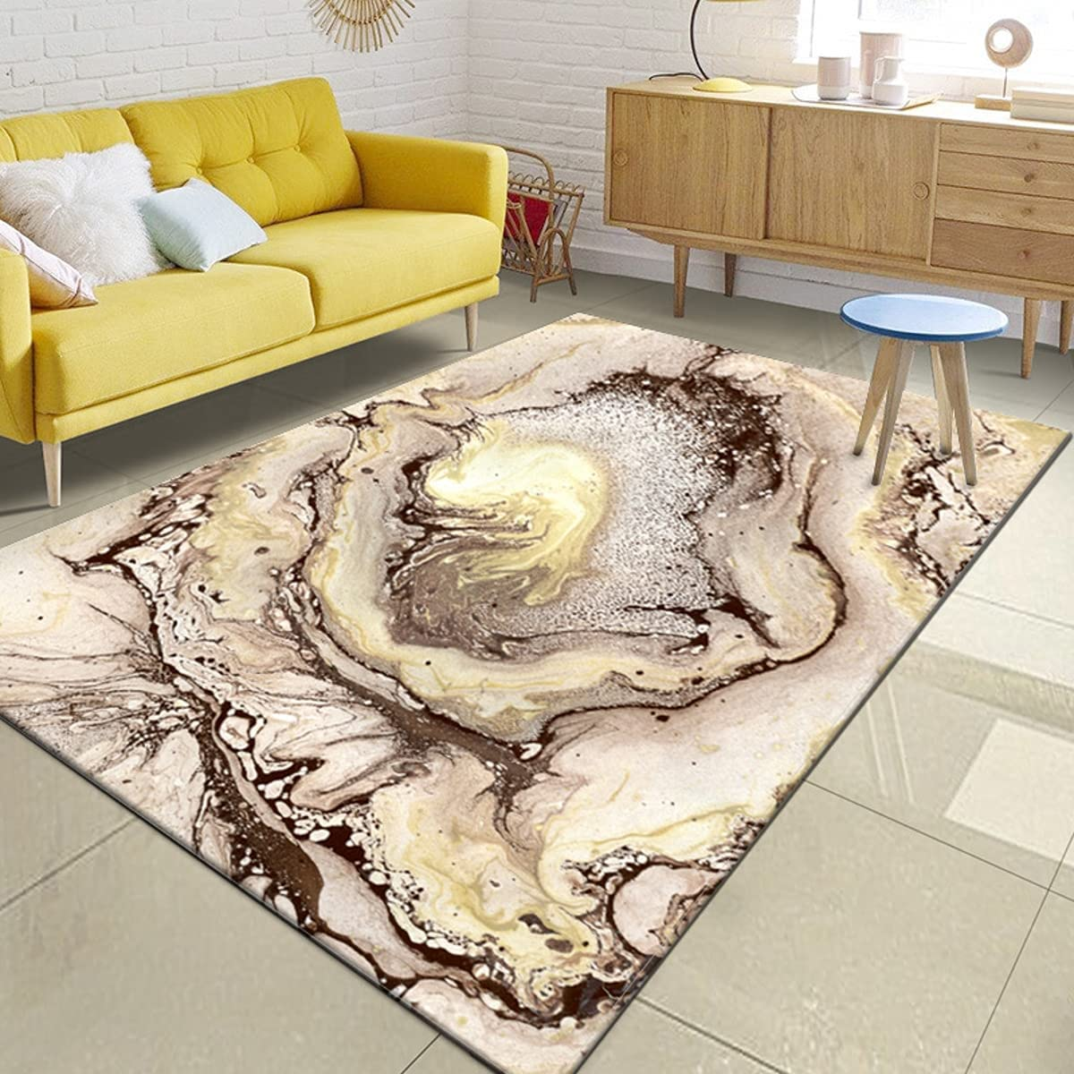 Genuine Modern Abstract Area Rugs for Living Ranking TOP3 Illusion 3D Brown Gold Room