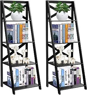 Tangkula 4-Tier Ladder Shelf Bookcase Leaning Free Standing Wooden Frame Decor Bookshelf Storage Flower Shelf Plant Display Shelf for Home Office (2) …