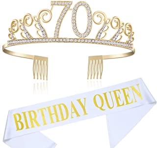 BABEYOND 70th Birthday Tiara and Sash Crystal Happy Birthday Crown and Satin Birthday Queen Sash 70th Birthday Party Supplies Rhinestone 70th Princess Crown and Glitter Sash (Set-1)