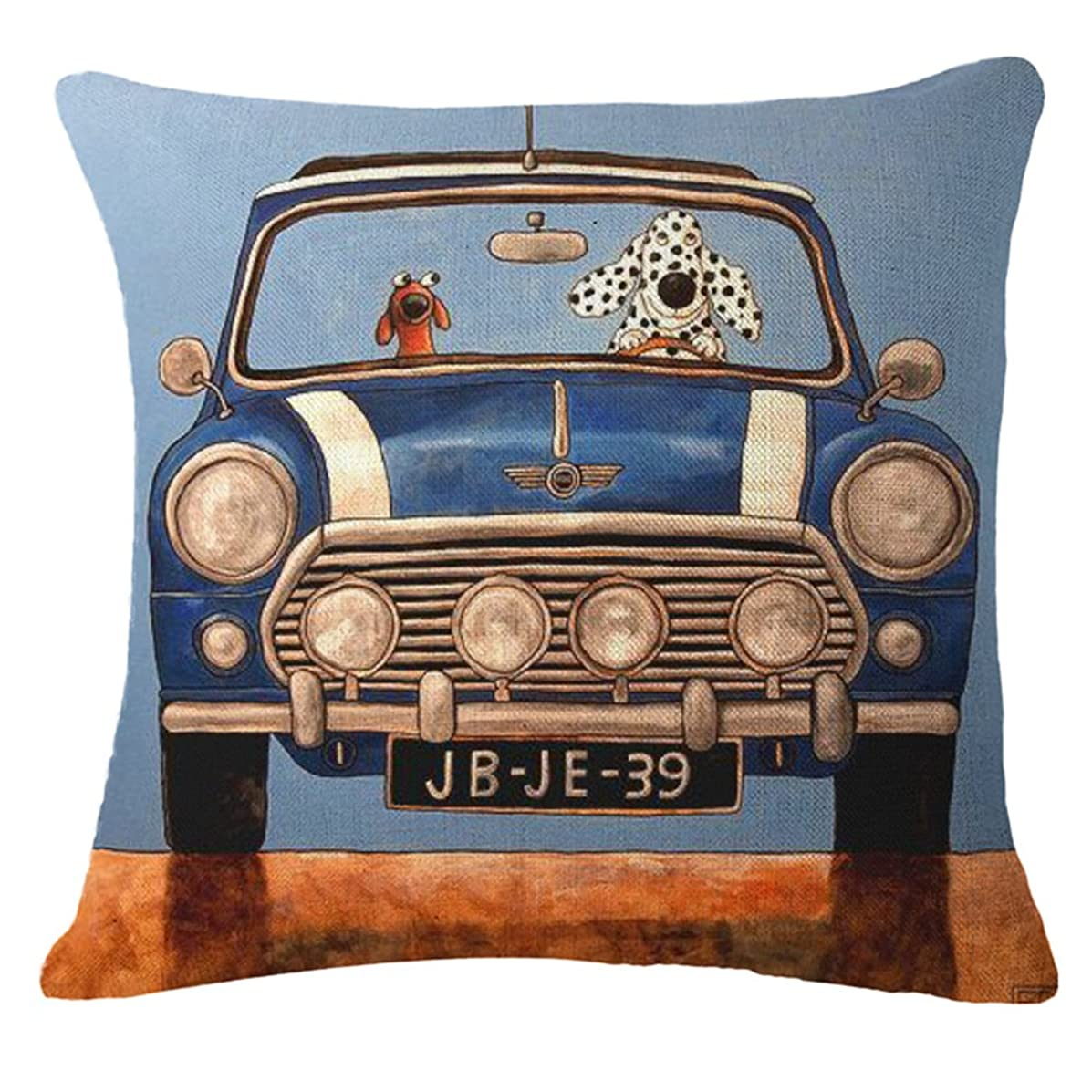 """MHB Cotton Linen Throw Pillow Covers Blue Car and Spotty Dog Pattern for Couch 18""""x18"""""""