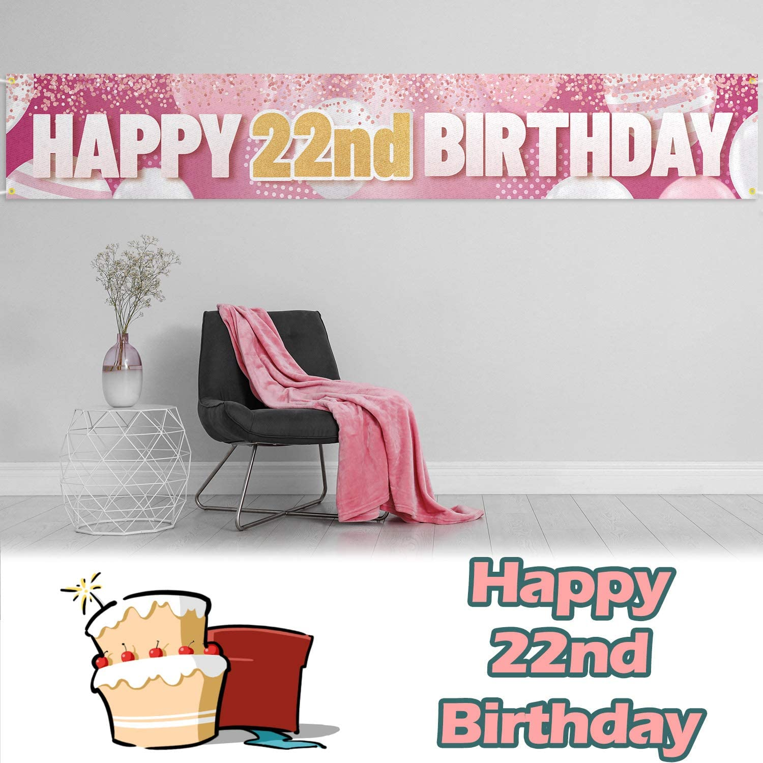 LINGPAR 9.8 x 1.6 ft Large Sign Happy 10th Birthday Banner Pink Cheers to 10 Years Old Decor