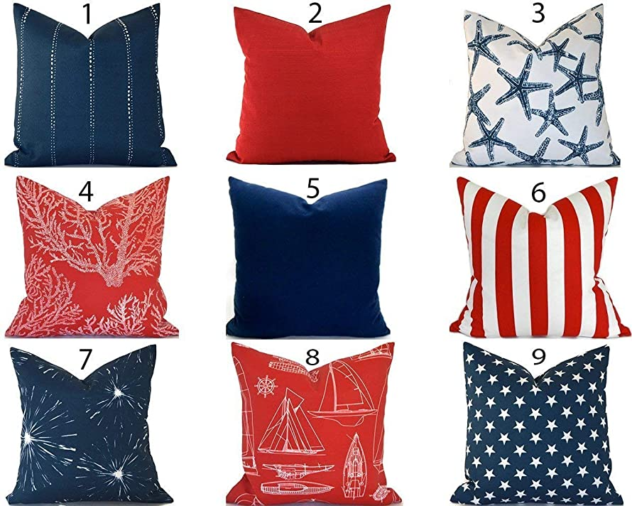 Outdoor Decorative Throw Pillow Cover You Choose Any Size OD Navy Blue Red White