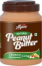 Alpino Natural Peanut Butter Crunch 2.4 KG | Unsweetened | Made with 100% Roasted Peanuts | No Added Sugar | No Added Salt | No Hydrogenated Oils | 100% Non-GMO | Gluten-Free | Vegan