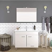 DUCHA.ES Mueble DE BAÑO con Lavabo Espejo TOALLERO LUZ LED Conjunto Moderno Medidas (80 CM, Blanco Brillo)