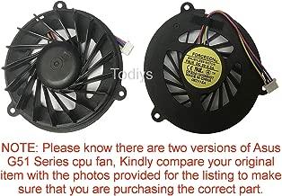 Todiys CPU Cooling Fan for Asus G50 G50G G50S G50V G50VT G51VX G51 G51V G51VX G51J G51JX Series G50V-A1 G50V-X1 G50VT-2D G50VT-X3 G51VX-RX05 G51VX-X1A G51J-3D G51JX-A1 G51JX-X1 DFS541305MH0T-F8U5