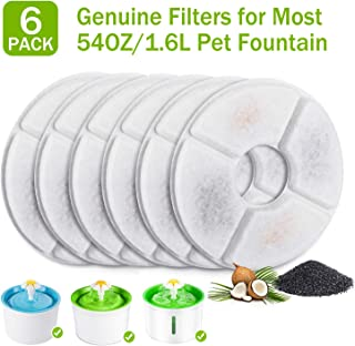 PG.KINWANG Cat Fountain Filters Replacement for 54oz/1.6L Automatic Pet Fountain Cat Water Fountain Dog Water Dispenser, Ion Exchange Resin and Coconut Activated Carbon, Pack of 6