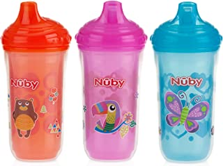 Nuby 3 Piece Insulated No Spill Easy Sip Cup with Vari-Flo Valve Hard Spout, Girl, 9 Oz