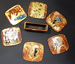 Egyptian Coffee Table Coasters Set Genuine Leather with Holder Handcrafted Coaster King TUT Queen Nefertiti Cleopatra Pyramids Camel Handcrafted Handmade Egypt Ancient Pharaohs Souvenir Hieroglyphics